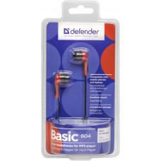 наушн Defender Basic-604 Red Для MP3, кабель 1,1 м